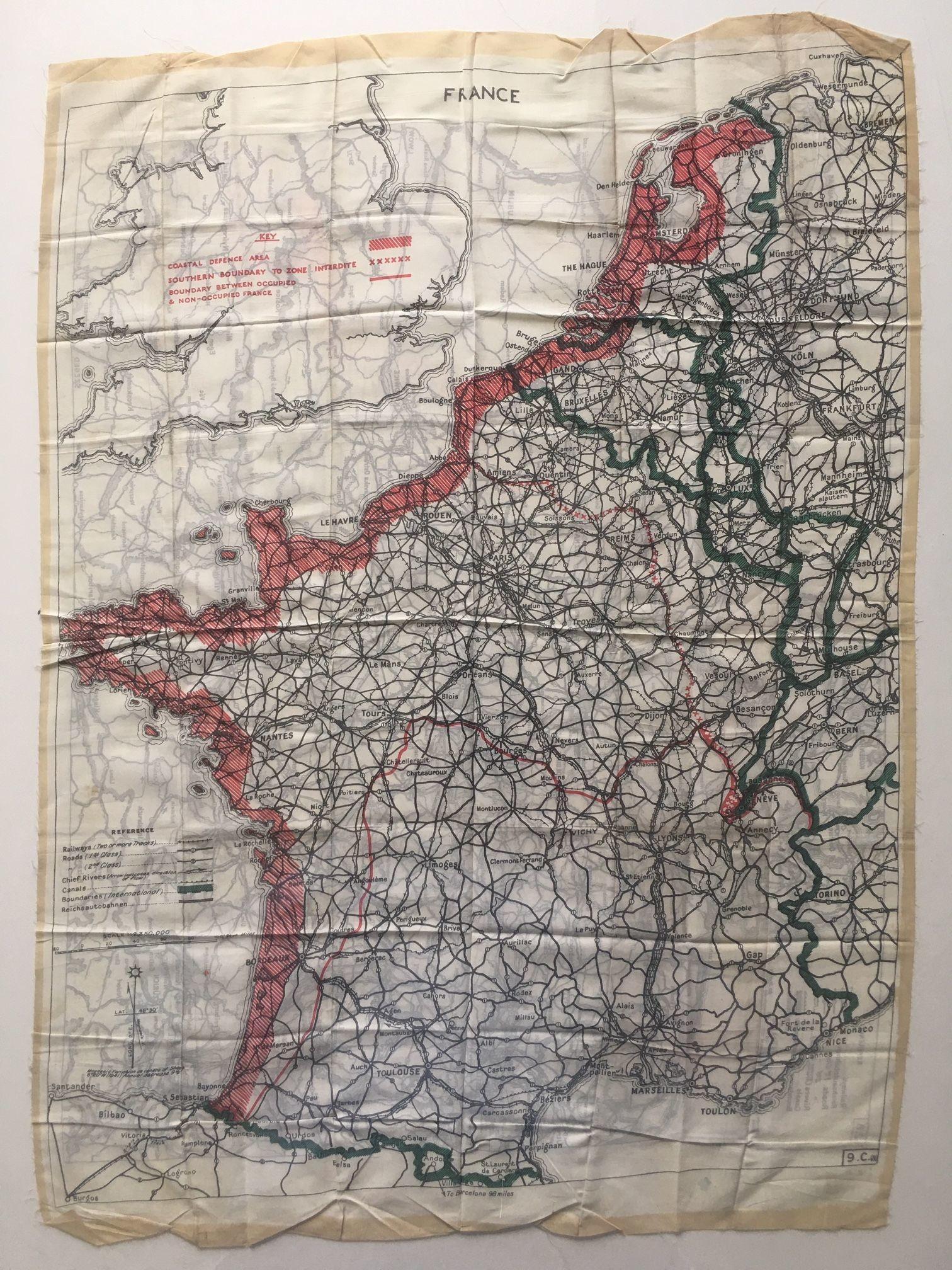 Karte Auf Seide Besetzes Gebiet Und Frontverlauf Frankreich Und